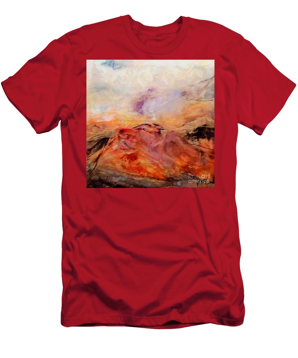Abstract Landscape Men's T-Shirt (Athletic Fit) featuring the painting Hills In The Autumn by Dragica Micki Fortuna