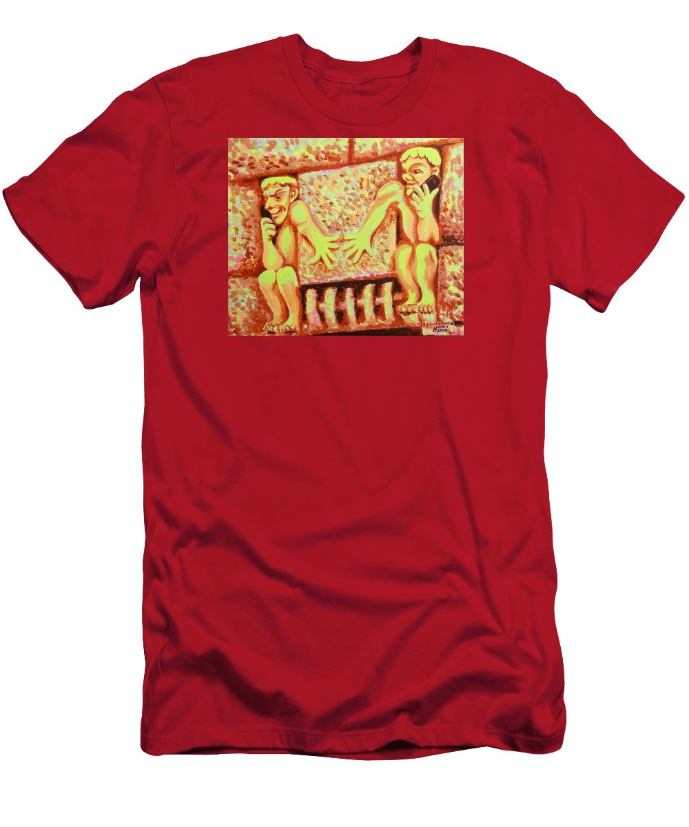 Holding For Hilda Men's T-Shirt (Athletic Fit) featuring the painting Holding For Hilda by Alan Hogan