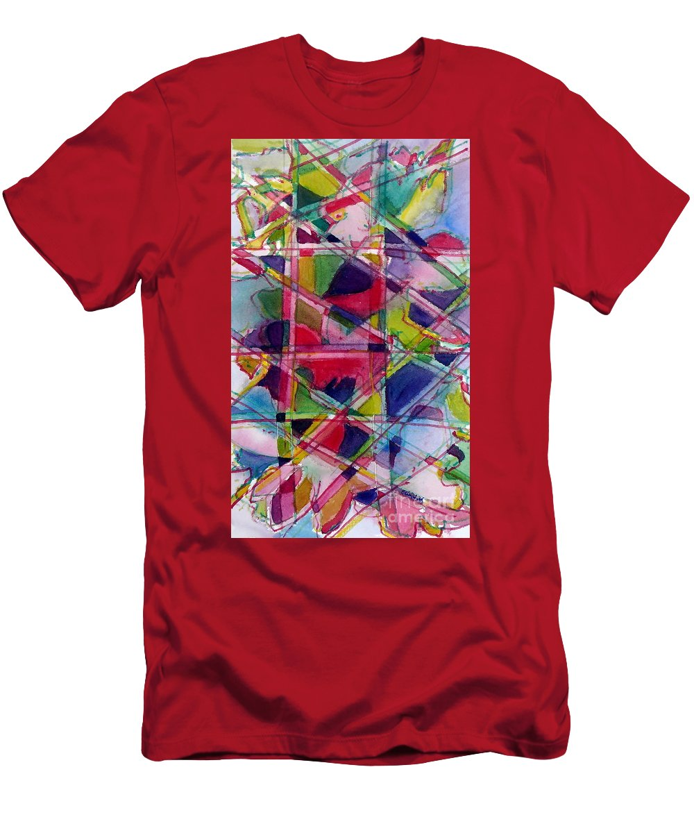 Abstract Men's T-Shirt (Athletic Fit) featuring the painting Holiday Rush by Jan Bennicoff