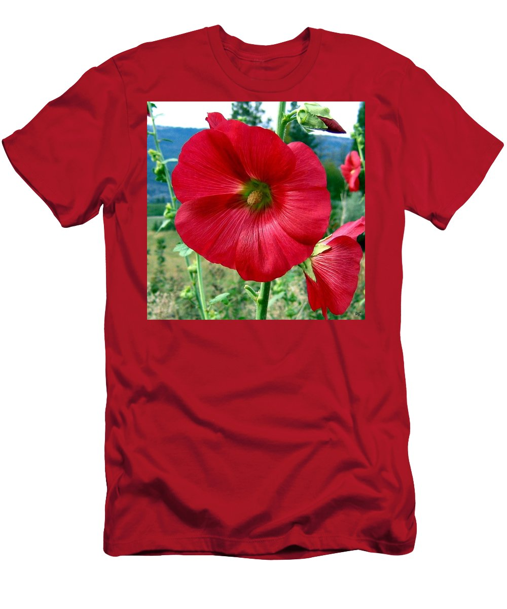 Hollyhocks Men's T-Shirt (Athletic Fit) featuring the photograph Hollyhock Hill by Will Borden