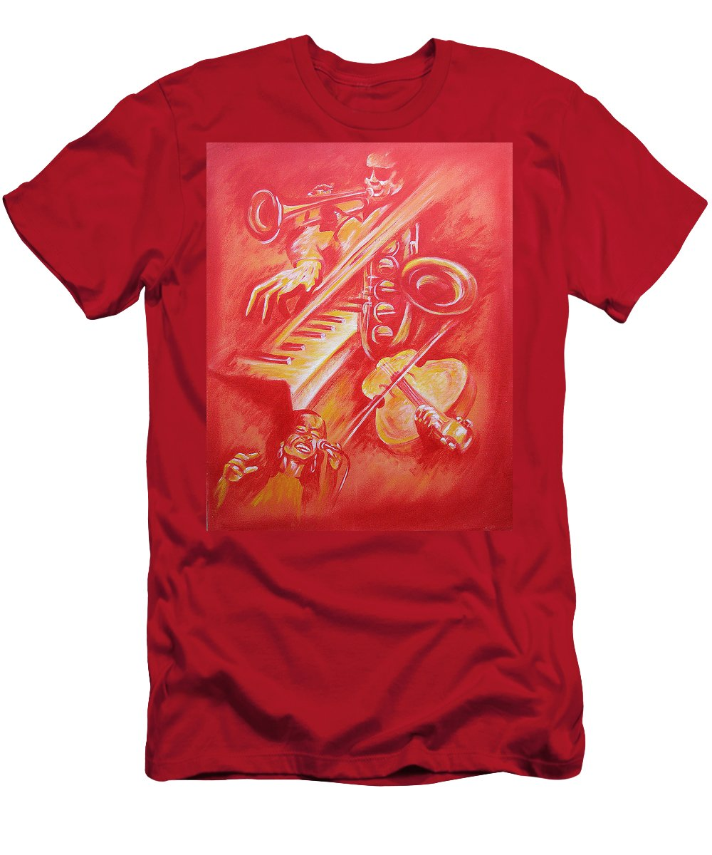 Jazz Music Instruments Singing Acrylic Canvas Men's T-Shirt (Athletic Fit) featuring the painting Hot Jazz by Shaun McNicholas