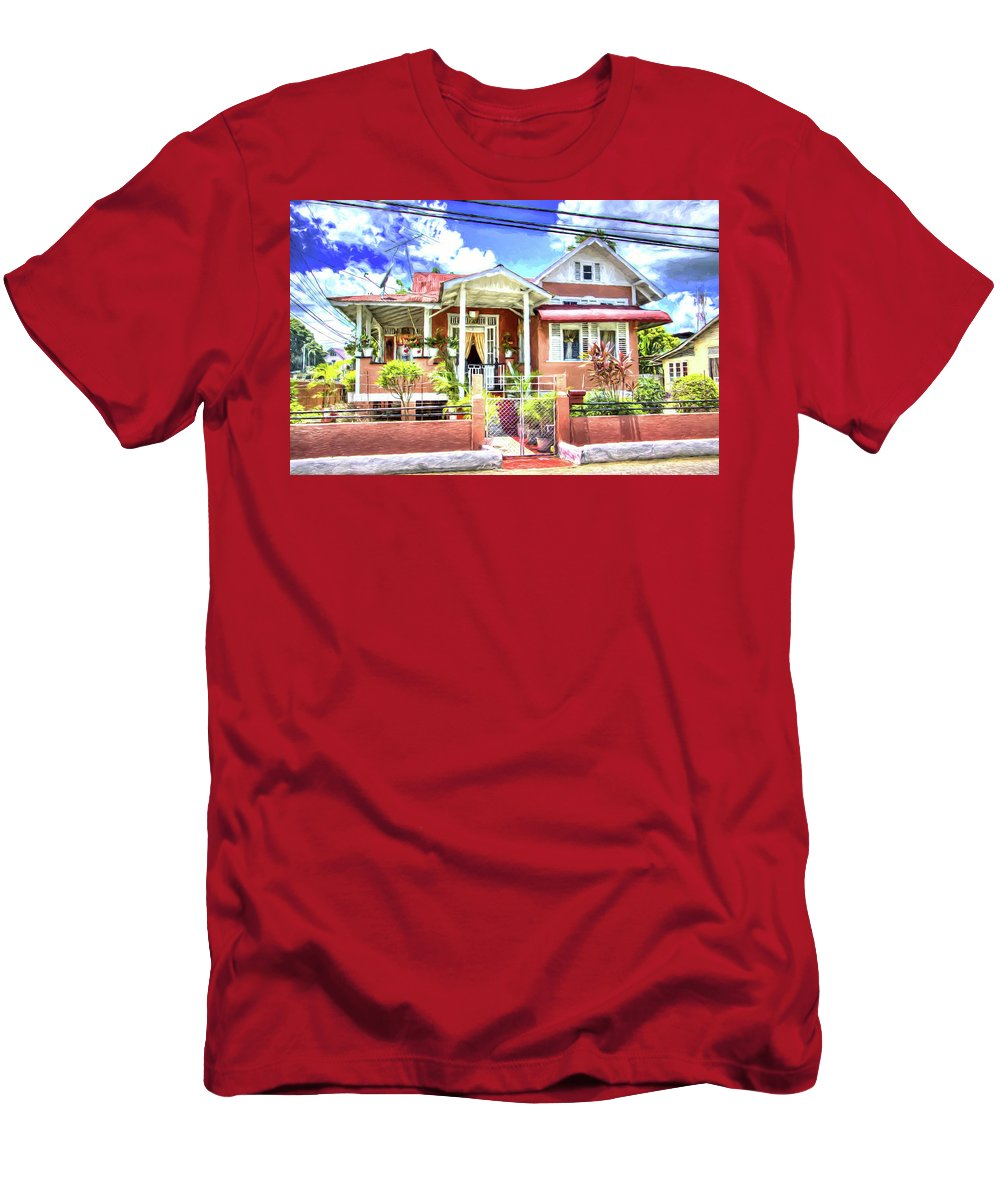 Trinidad Men's T-Shirt (Athletic Fit) featuring the photograph House In Curepe by Sharon Ann Sanowar