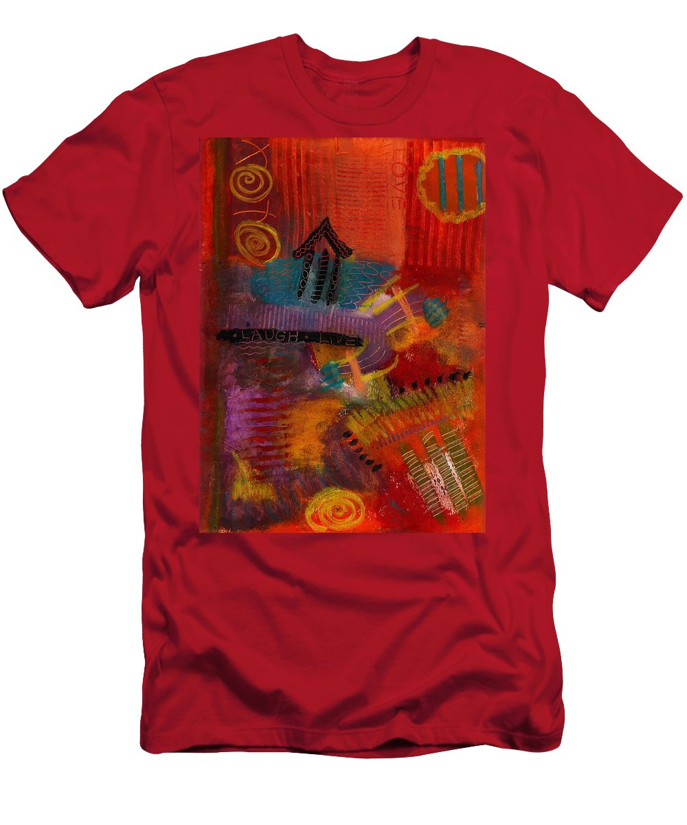 Houses Men's T-Shirt (Athletic Fit) featuring the painting House Of Laughter by Angela L Walker