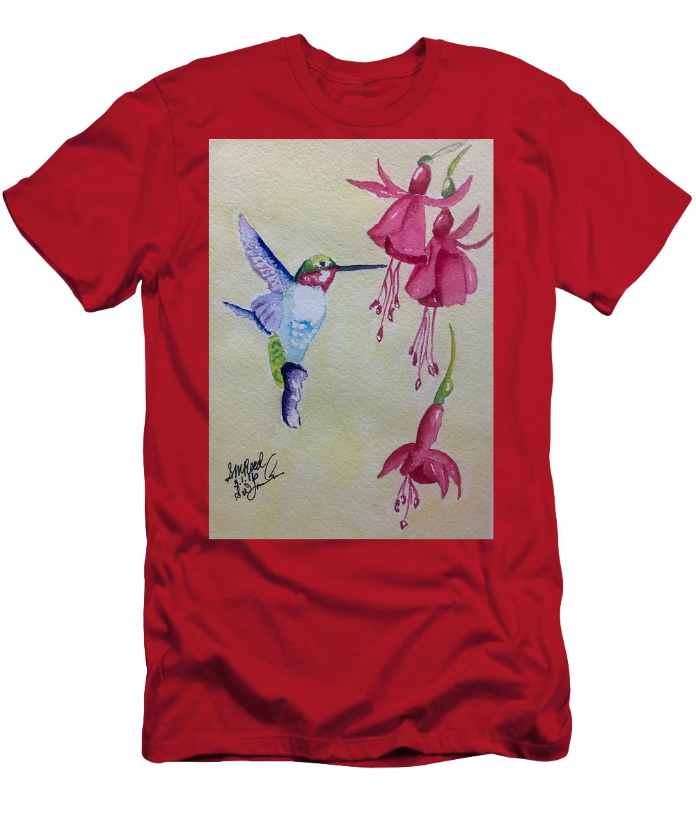 Hummingbird Men's T-Shirt (Athletic Fit) featuring the painting Hummingbird I by Sharon Reed