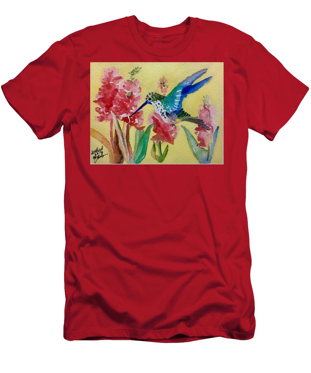 Hummingbird Men's T-Shirt (Athletic Fit) featuring the painting Hummingbird II by Sharon Reed