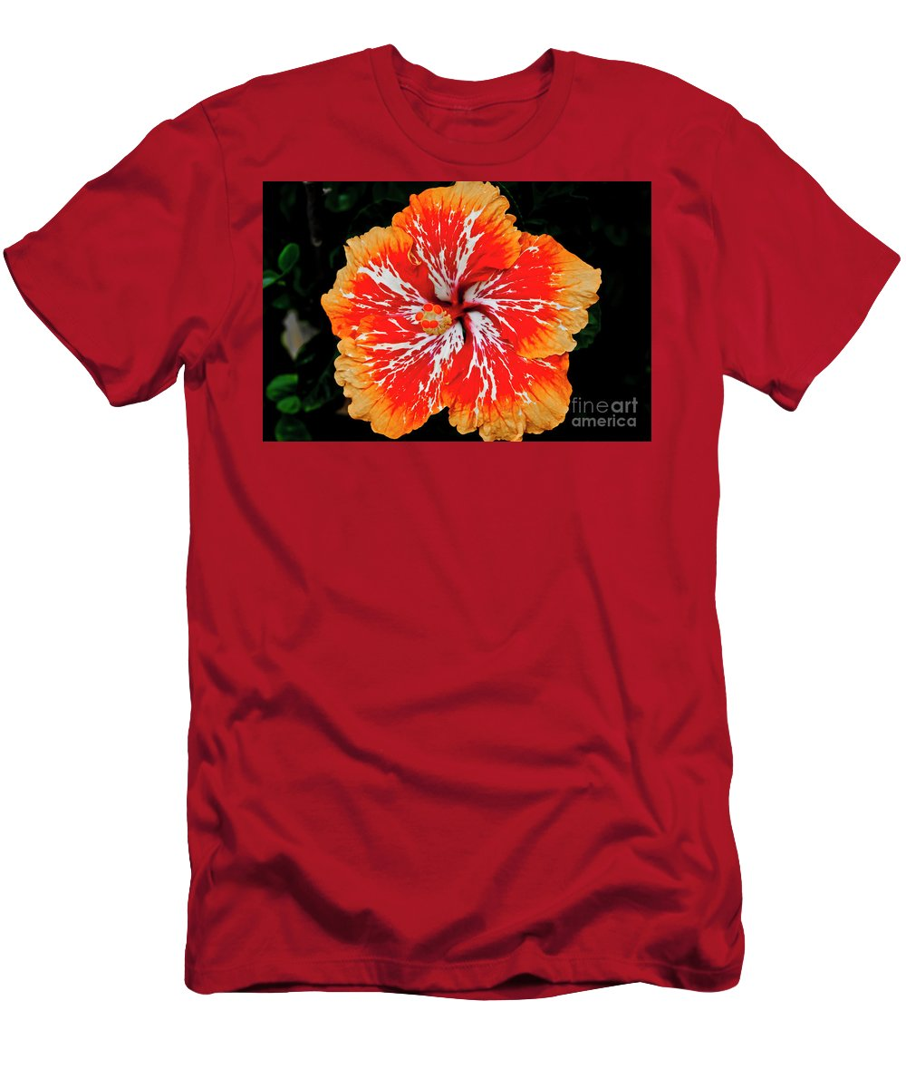 Flower Men's T-Shirt (Athletic Fit) featuring the photograph Hybrid Hibiscus II Maui Hawaii by Jim Cazel