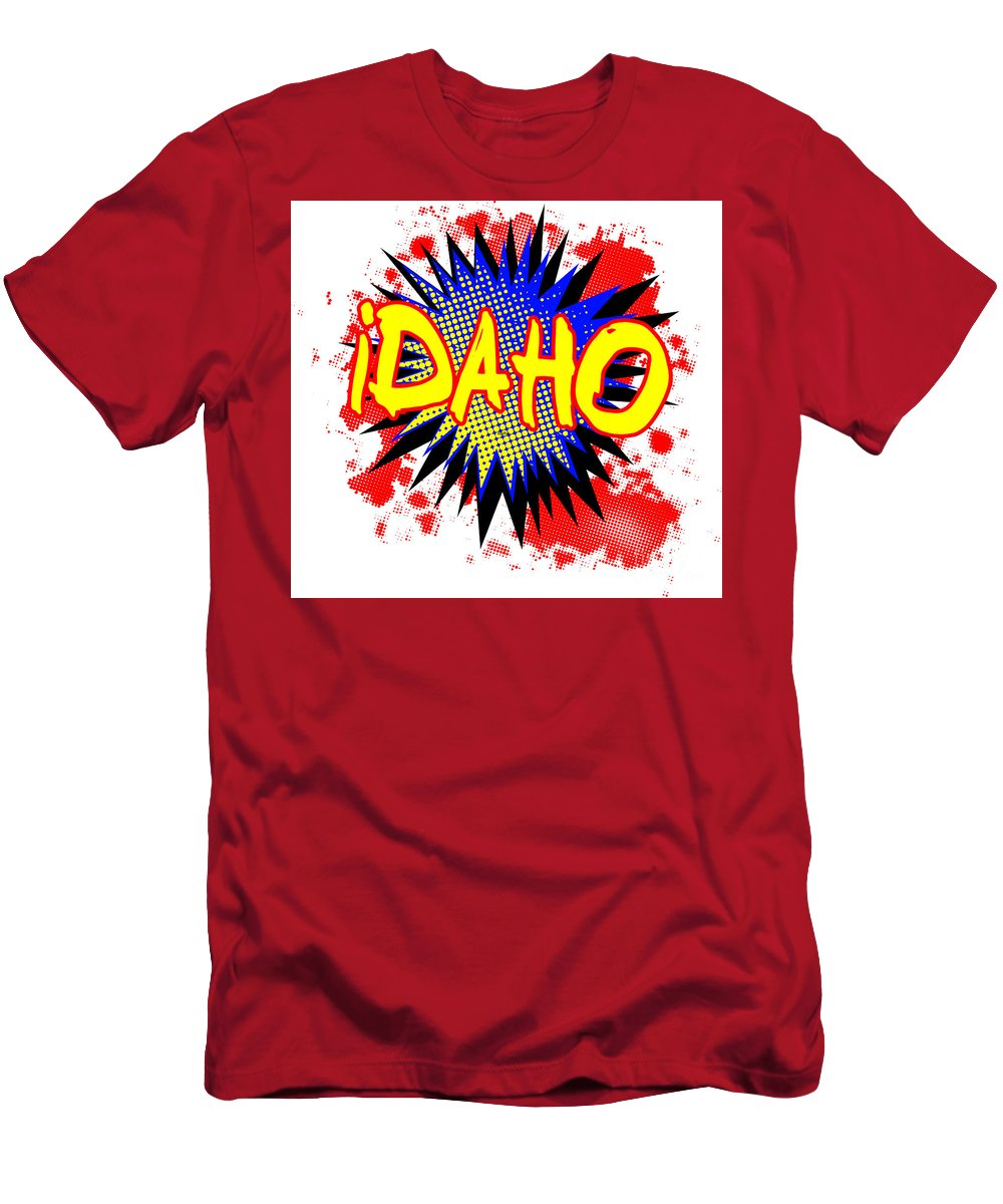 Idaho Men's T-Shirt (Athletic Fit) featuring the digital art Idaho Comic Exclamation by Bigalbaloo Stock