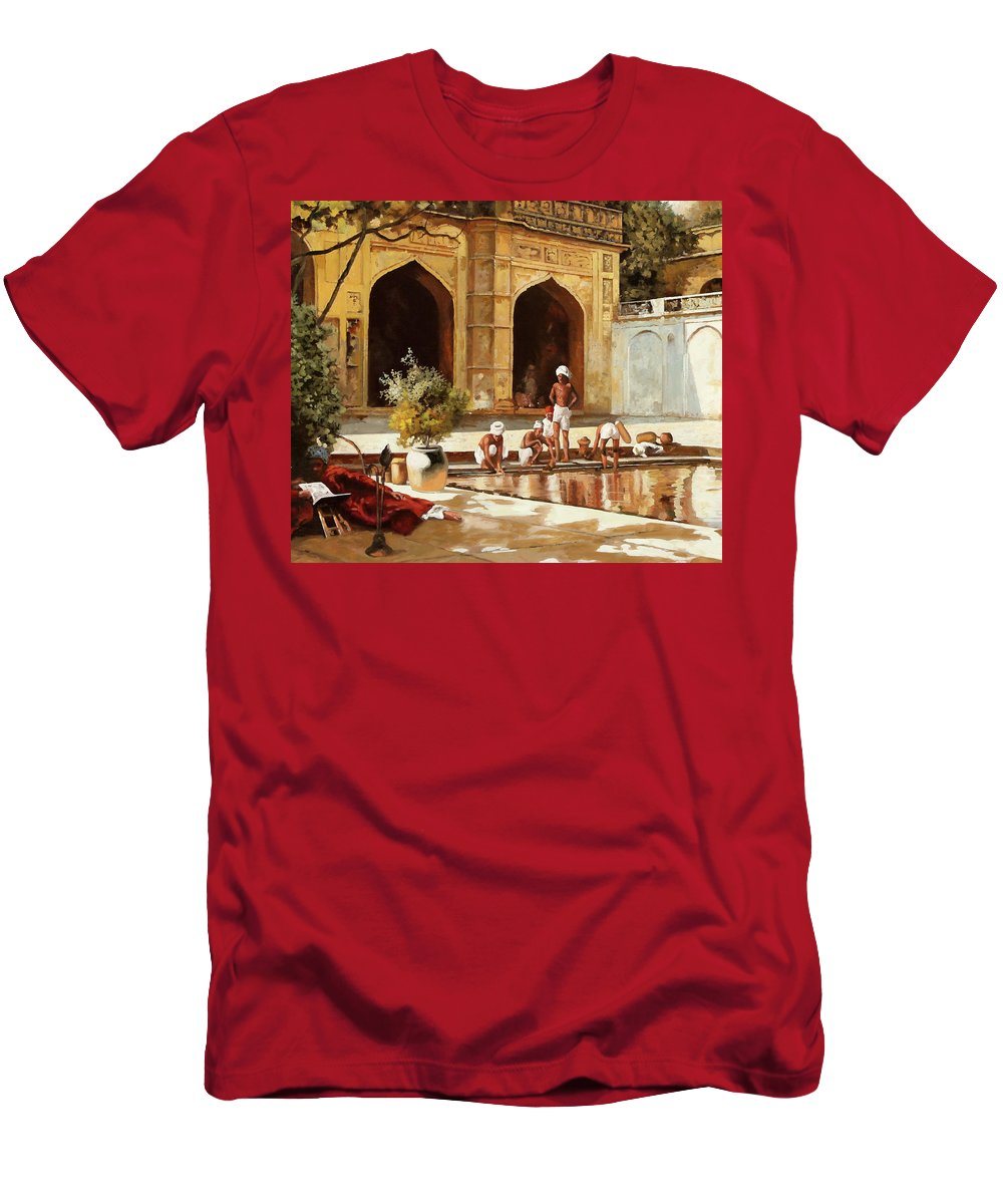 Pool Men's T-Shirt (Athletic Fit) featuring the painting Il Bagno by Guido Borelli