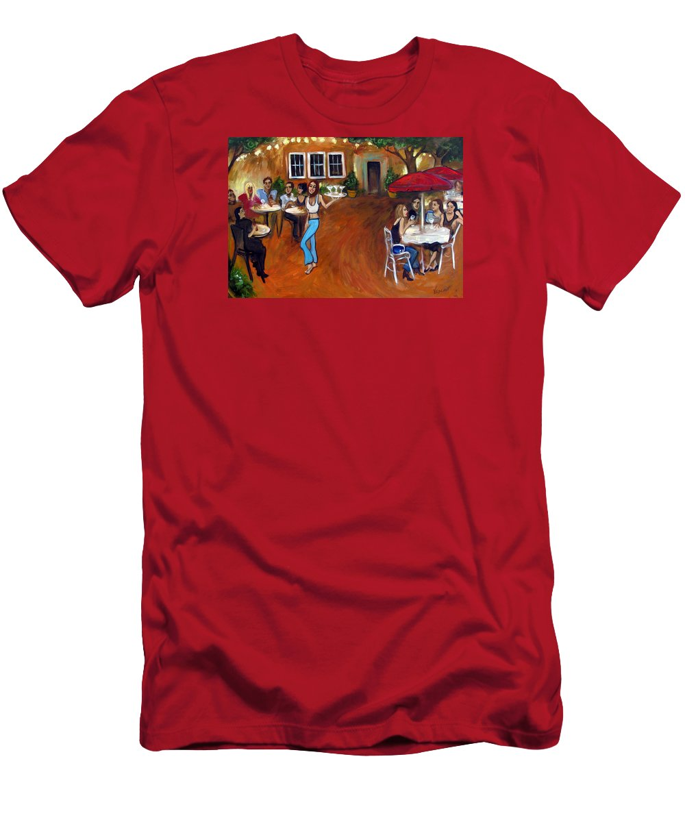 Bar Men's T-Shirt (Athletic Fit) featuring the painting Indigo Alley by Valerie Vescovi