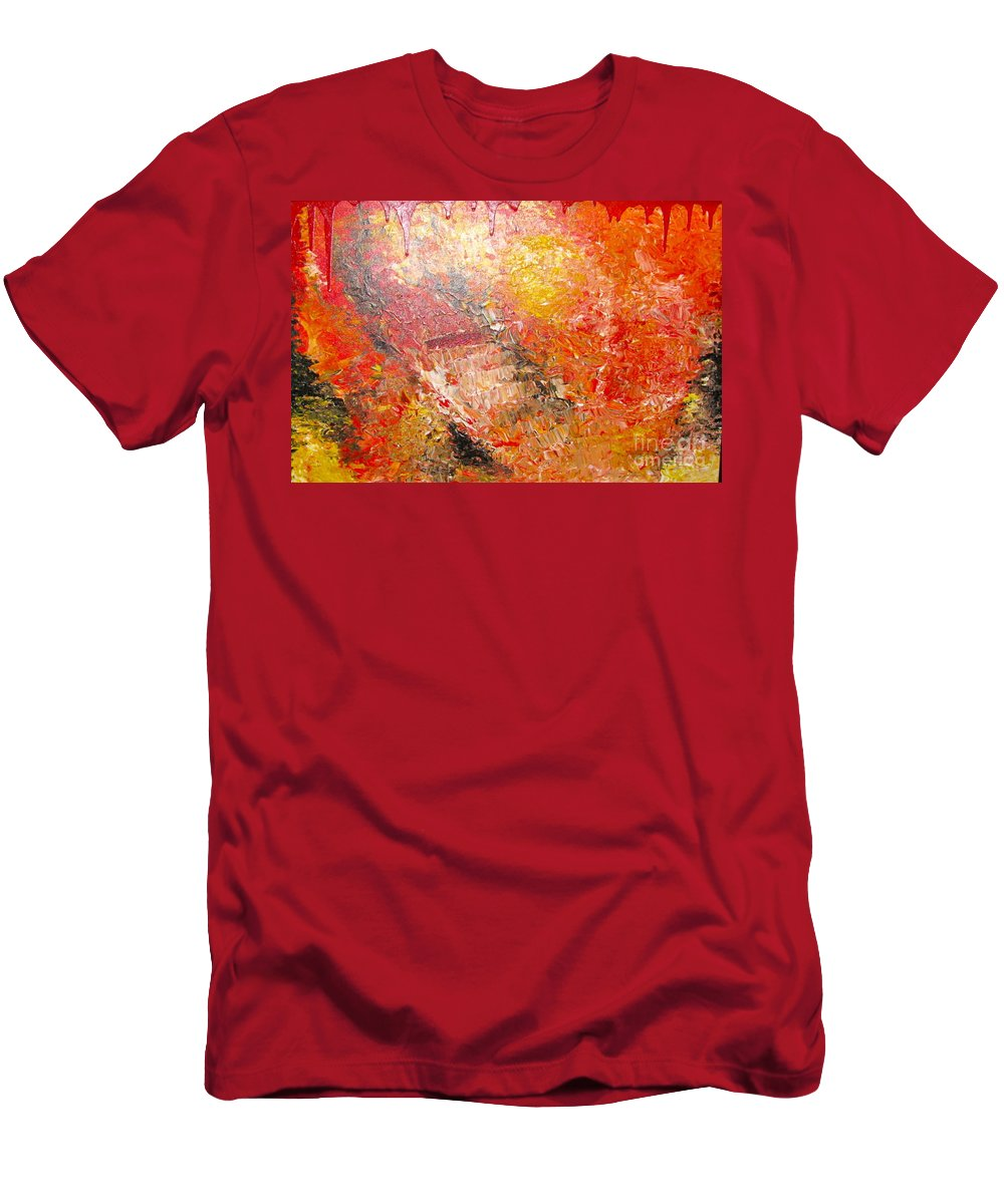 Red Men's T-Shirt (Athletic Fit) featuring the painting Inferno by Jacqueline Athmann
