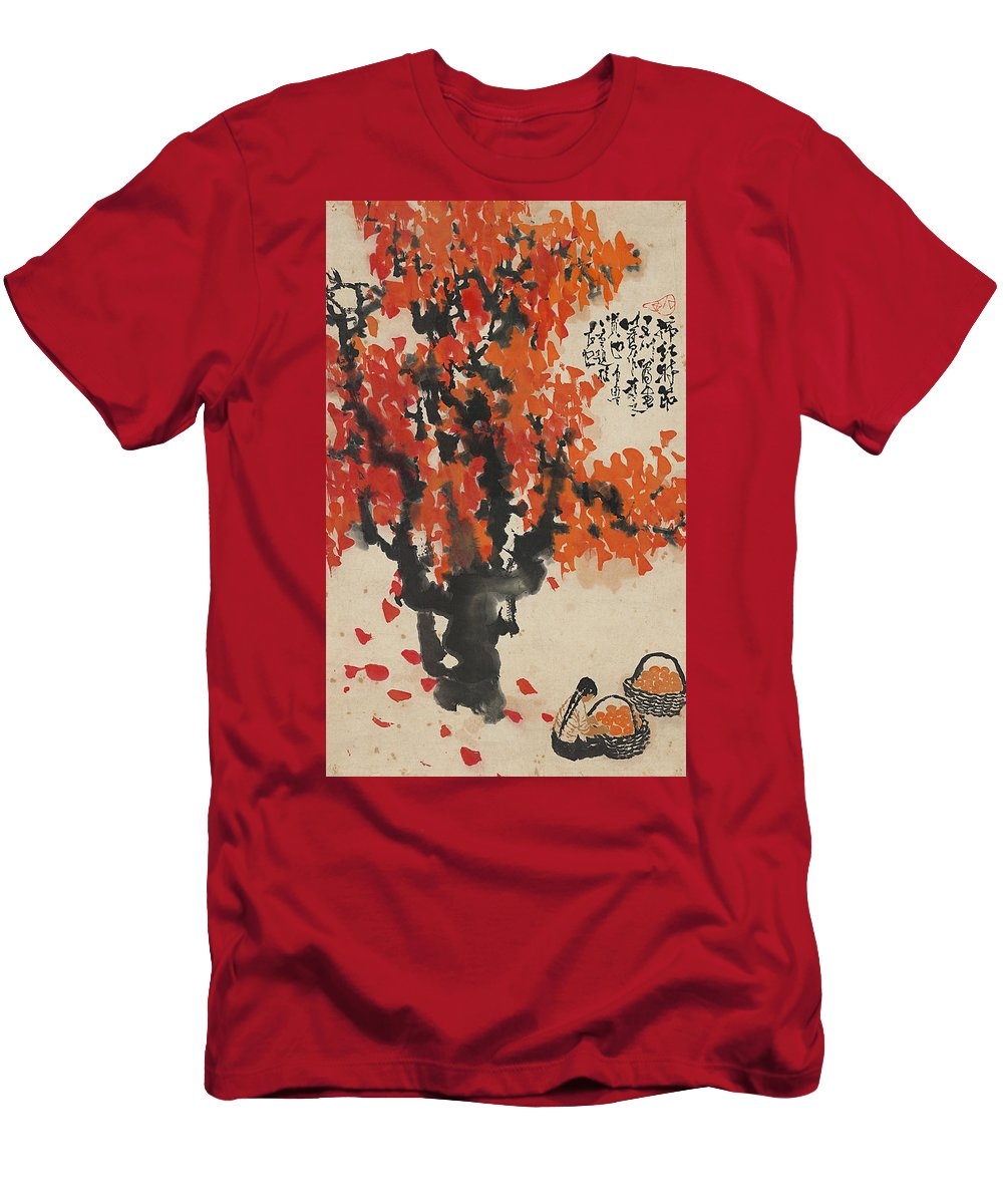 Shilu Men's T-Shirt (Athletic Fit) featuring the painting Ink Painting A Tree Gules Persimmon Girl by Shilu