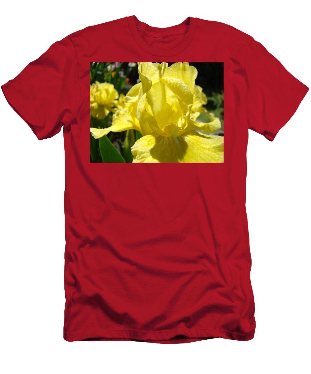 �irises Artwork� Men's T-Shirt (Athletic Fit) featuring the photograph Irises Yellow Iris Flowers Floral Art Prints Botanical Garden Artwork Giclee by Baslee Troutman