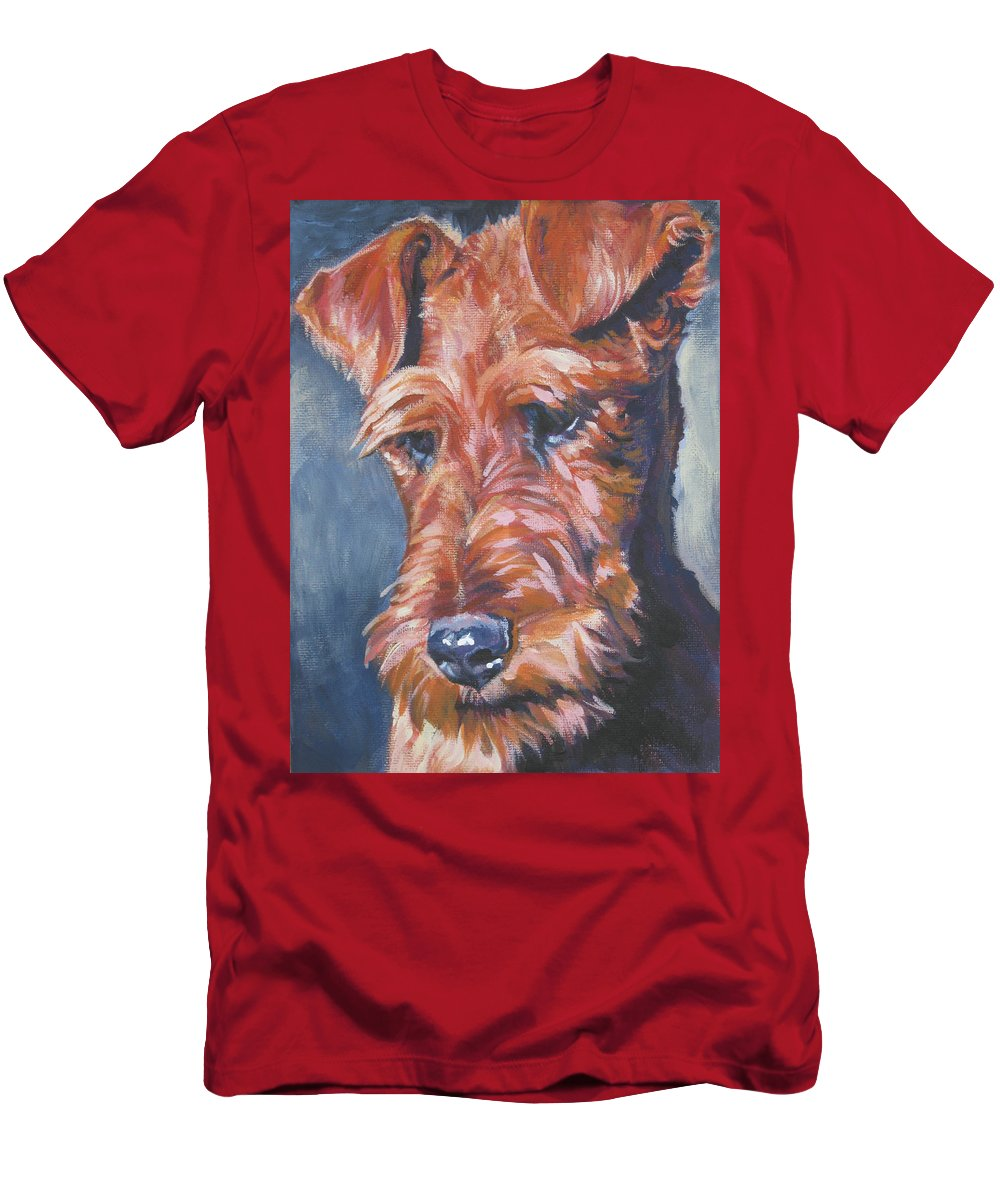 Irish Terrier Men's T-Shirt (Athletic Fit) featuring the painting Irish Terrier by Lee Ann Shepard