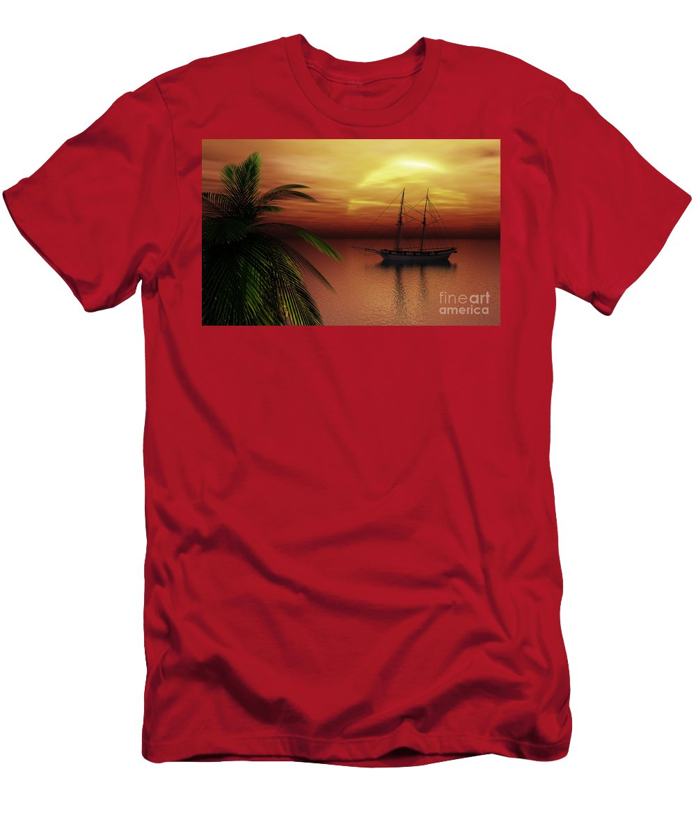 Tropical Men's T-Shirt (Athletic Fit) featuring the digital art Island Explorer by Richard Rizzo