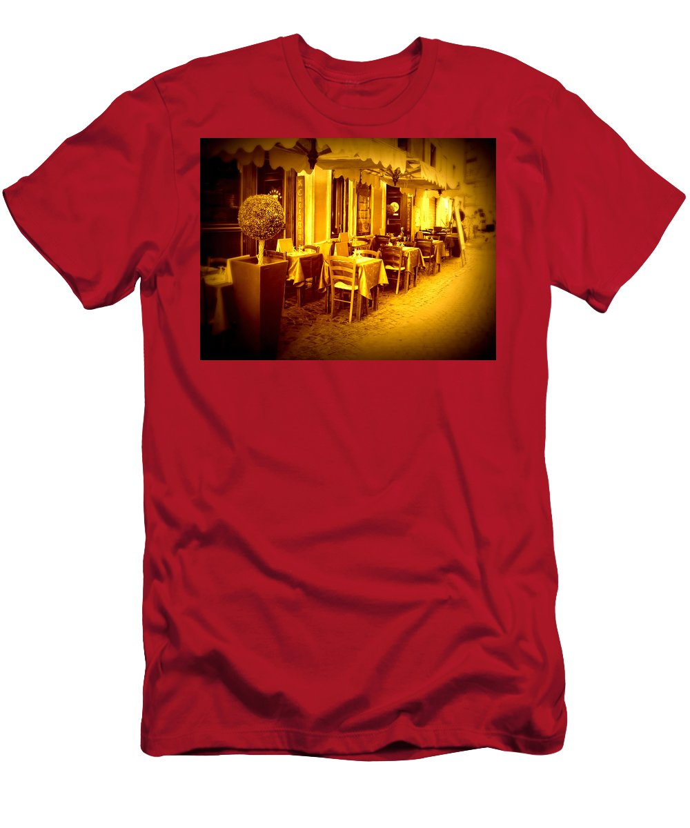 Italy Men's T-Shirt (Athletic Fit) featuring the photograph Italian Cafe In Golden Sepia by Carol Groenen