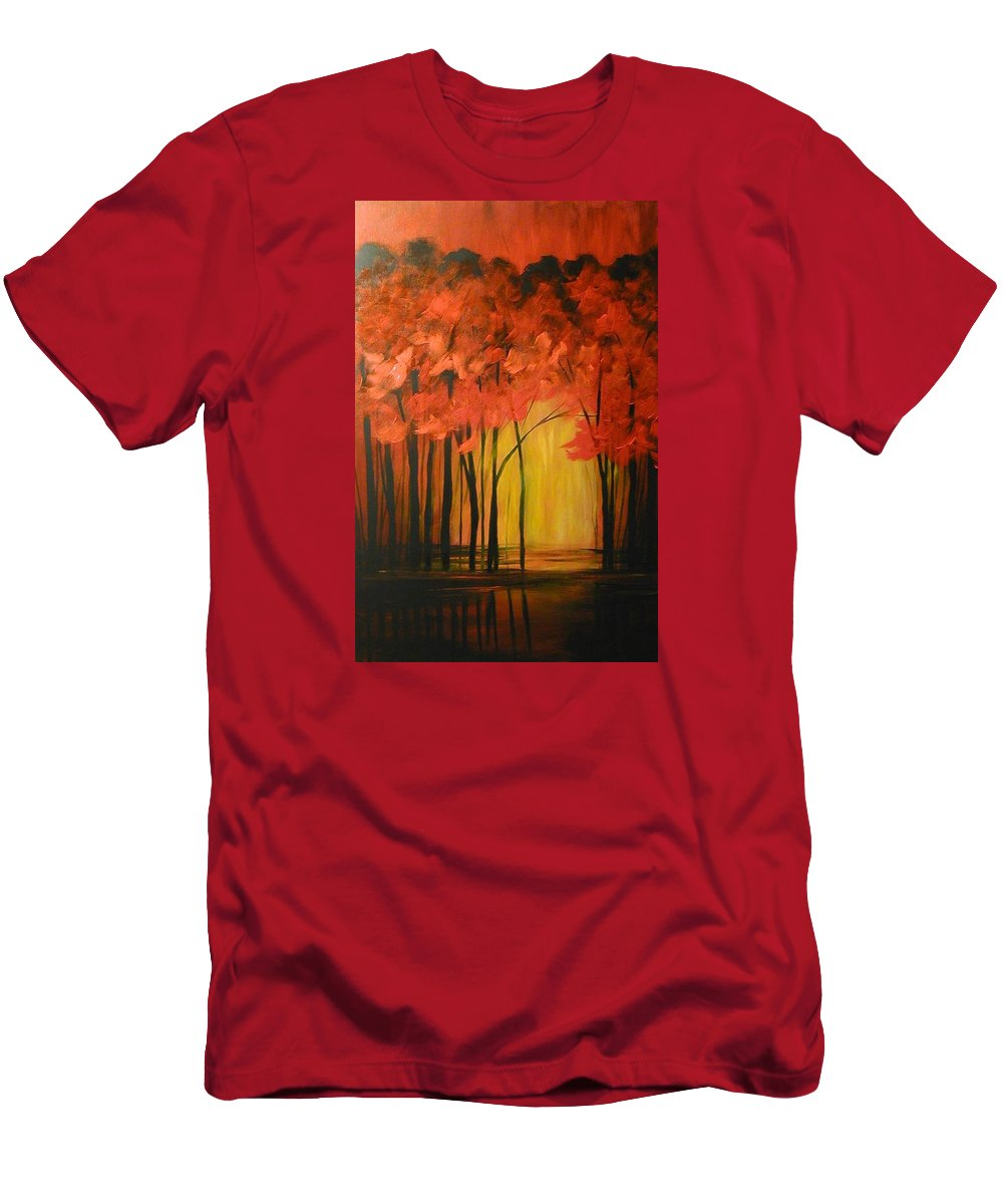 Abstract Men's T-Shirt (Athletic Fit) featuring the painting Japanese Forest by Sabina Surya Naya
