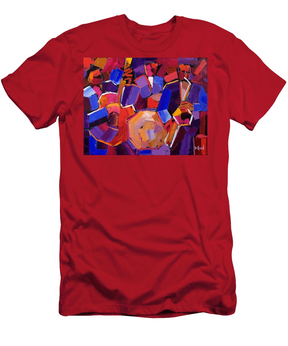Jazz Men's T-Shirt (Athletic Fit) featuring the painting Jazz Angles Two by Debra Hurd