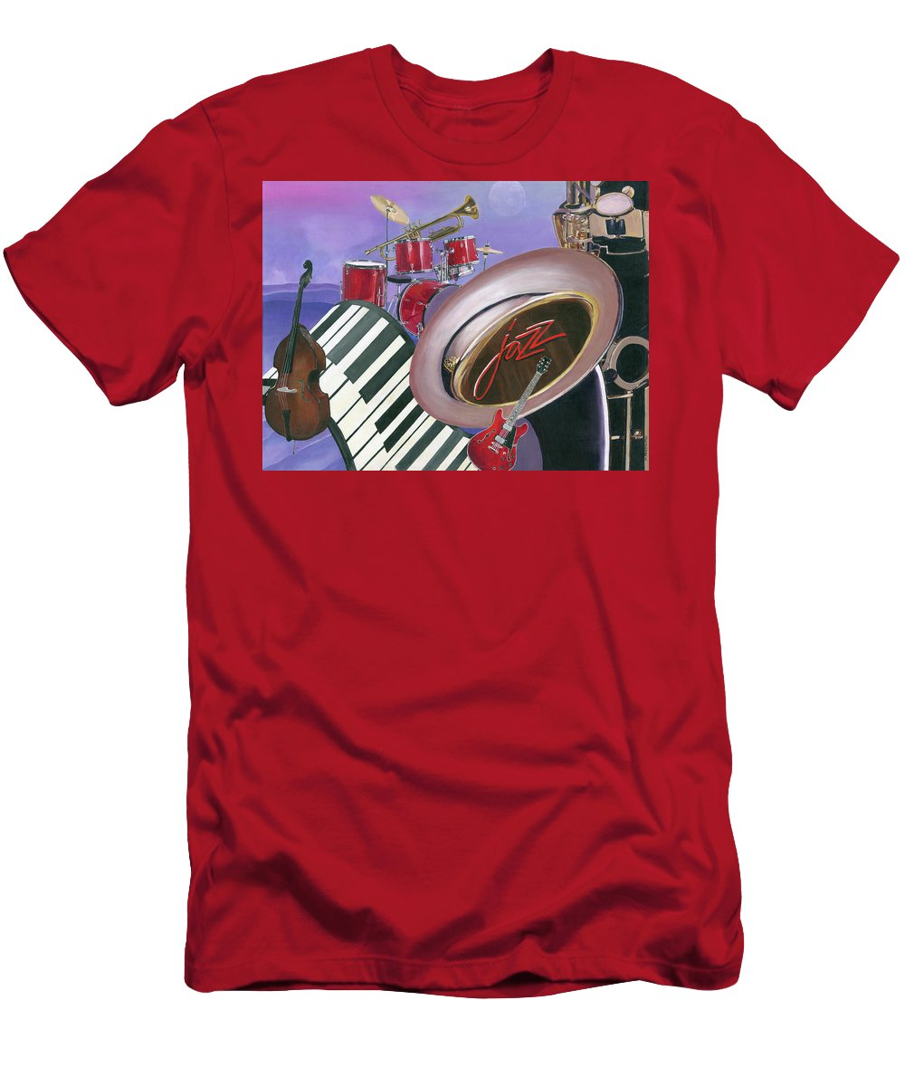 Jazz Men's T-Shirt (Athletic Fit) featuring the painting Jazz At Sunset by Heidi Meulenberg