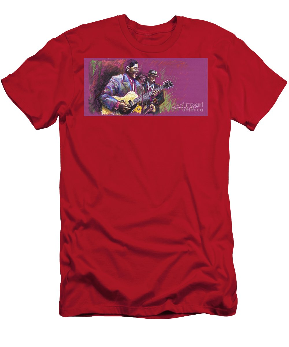 Jazz Men's T-Shirt (Athletic Fit) featuring the painting Jazz Guitarist Duet by Yuriy Shevchuk