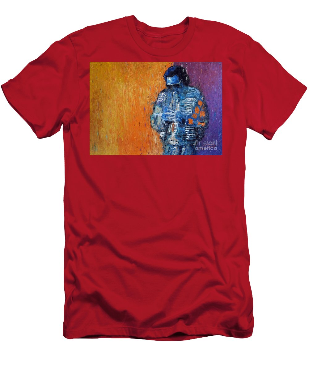 Jazz Men's T-Shirt (Athletic Fit) featuring the painting Jazz Miles Davis 2 by Yuriy Shevchuk