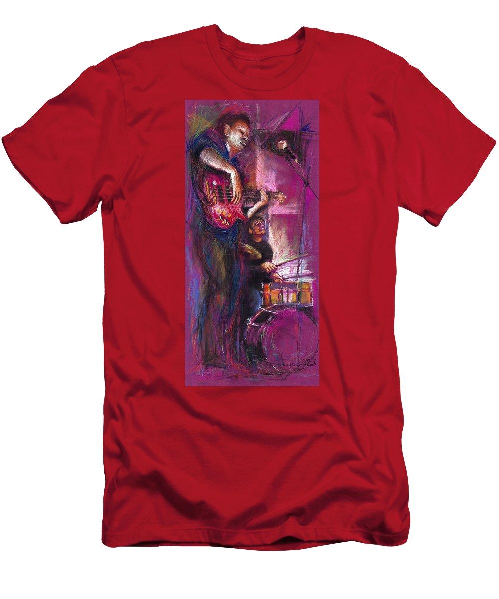 Jazz T-Shirt featuring the painting Jazz Purple Duet by Yuriy Shevchuk
