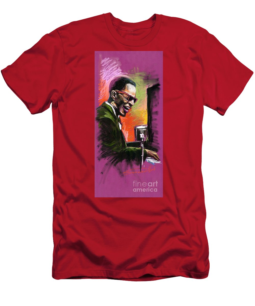 Men's T-Shirt (Athletic Fit) featuring the painting Jazz. Ray Charles.2. by Yuriy Shevchuk