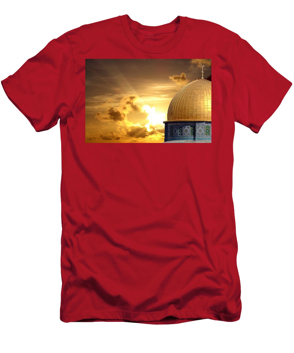 Jerusalem Men's T-Shirt (Athletic Fit) featuring the photograph Jerusalem - The Morning Light by Munir Alawi