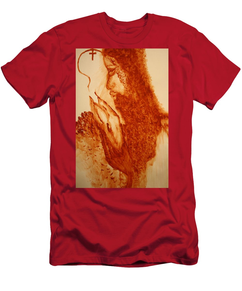 Jesus Men's T-Shirt (Athletic Fit) featuring the painting Jesus - The Good Shepherd by Gloria Ssali