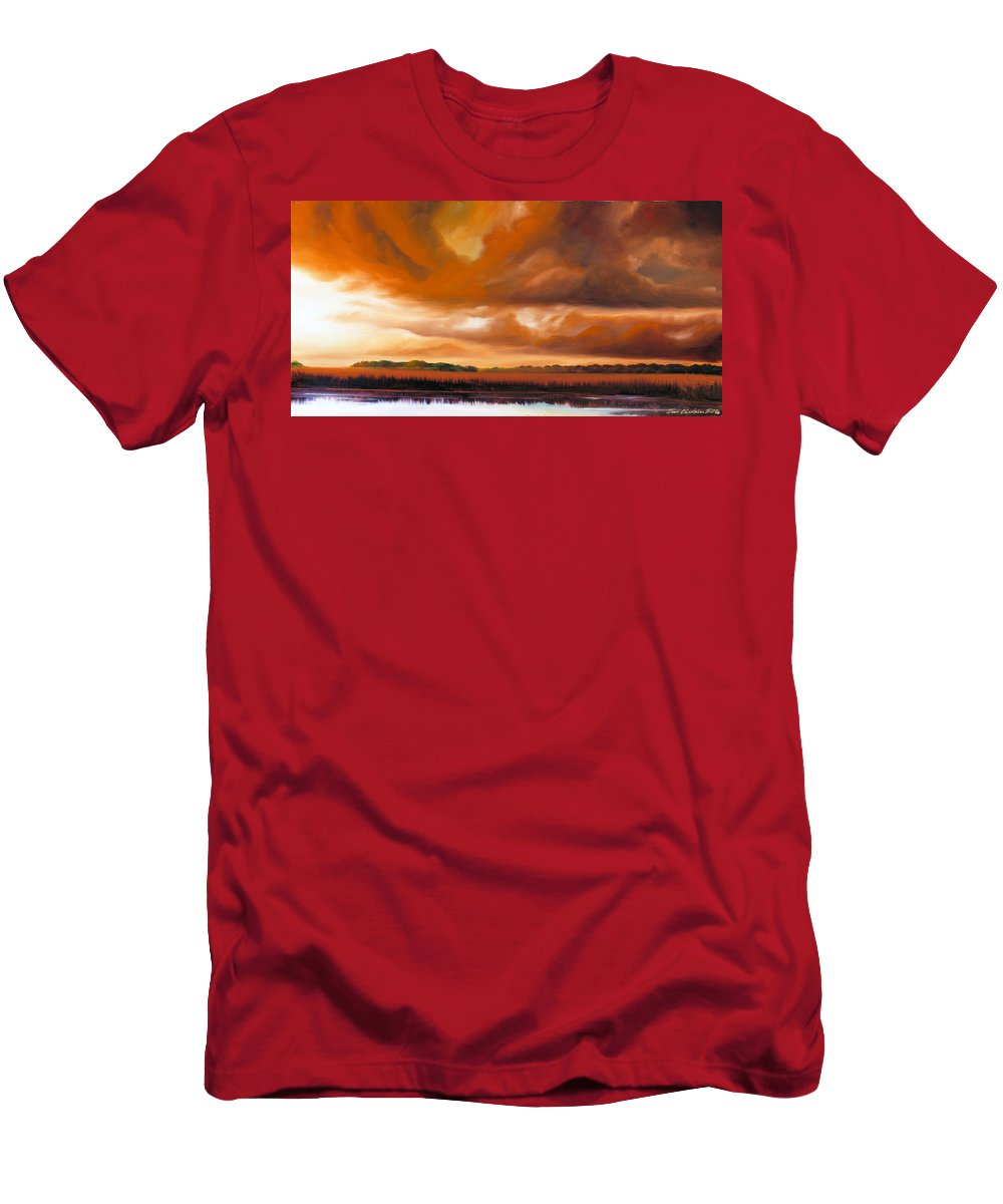 Clouds T-Shirt featuring the painting Jetties On The Shore by James Christopher Hill