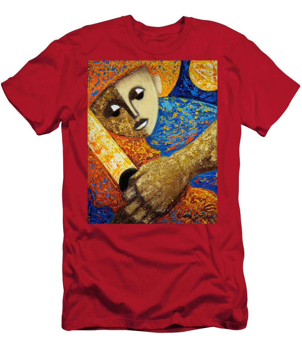 Color Men's T-Shirt (Athletic Fit) featuring the painting Jibaro Y Sol by Oscar Ortiz