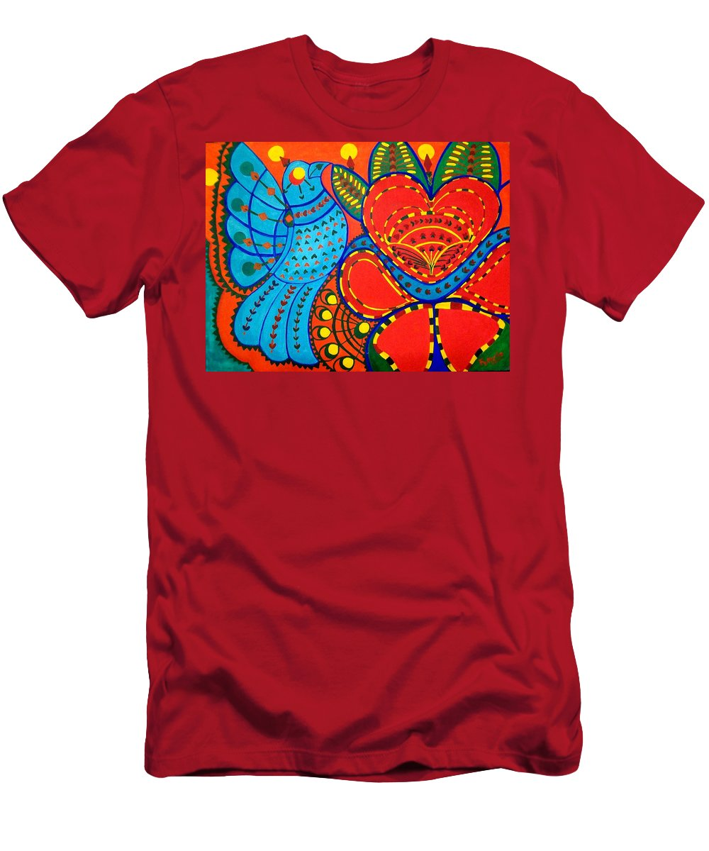 Contemporary Folk Men's T-Shirt (Athletic Fit) featuring the painting Jinga Bird - Jinga Bird Series by Fareeha Khawaja