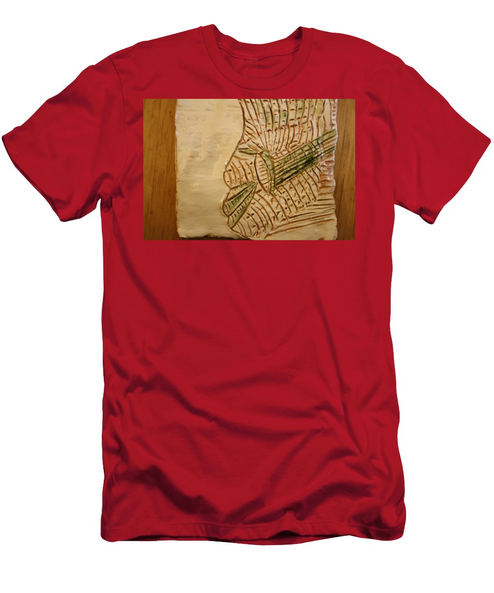 Jesus Men's T-Shirt (Athletic Fit) featuring the ceramic art Joels Relax Time - Tile by Gloria Ssali