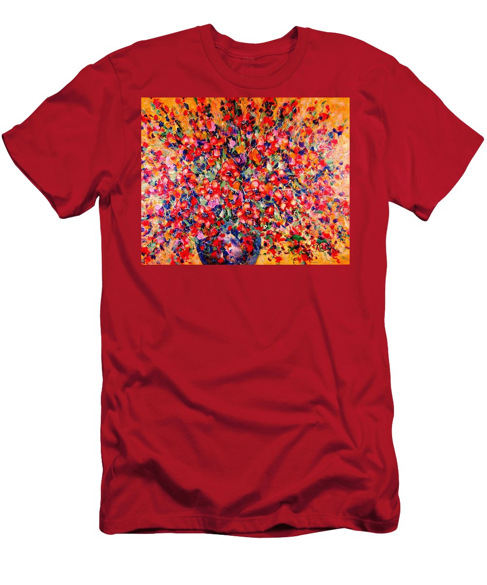 Flowers Men's T-Shirt (Athletic Fit) featuring the painting Joy Of Summer by Natalie Holland