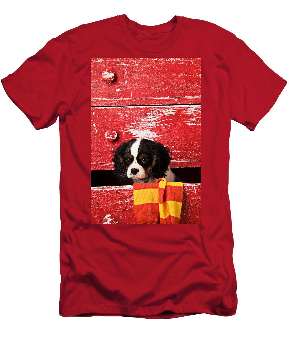 Puppy Men's T-Shirt (Athletic Fit) featuring the photograph King Charles Cavalier Puppy by Garry Gay