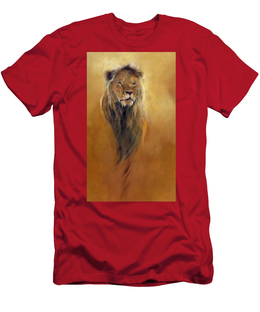 Animal; Furry; Lion; Wild Animal; Predator: King: Leo Men's T-Shirt (Athletic Fit) featuring the painting King Leo by Odile Kidd