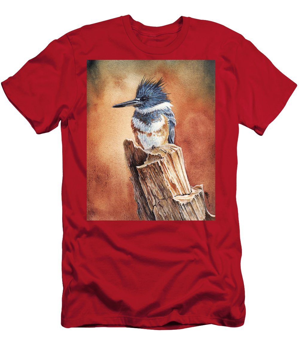 Bird Men's T-Shirt (Athletic Fit) featuring the painting Kingfisher I by Greg and Linda Halom
