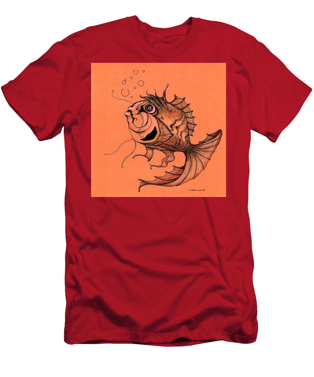 Abstract Fish Men's T-Shirt (Athletic Fit) featuring the drawing Kishi Fish by Nancy Hunka