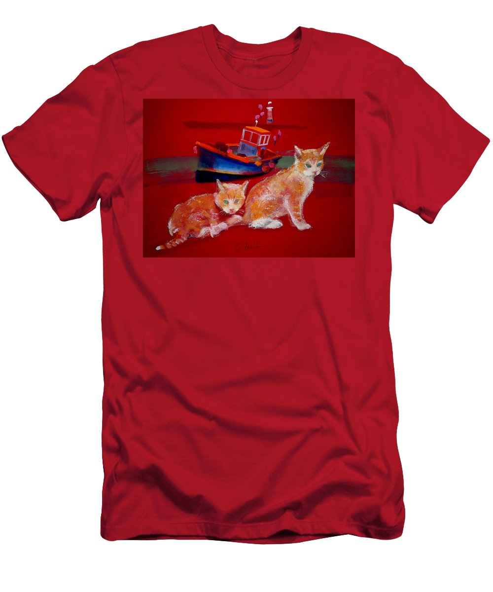 Kittens Men's T-Shirt (Athletic Fit) featuring the painting Kittens On The Beach by Charles Stuart