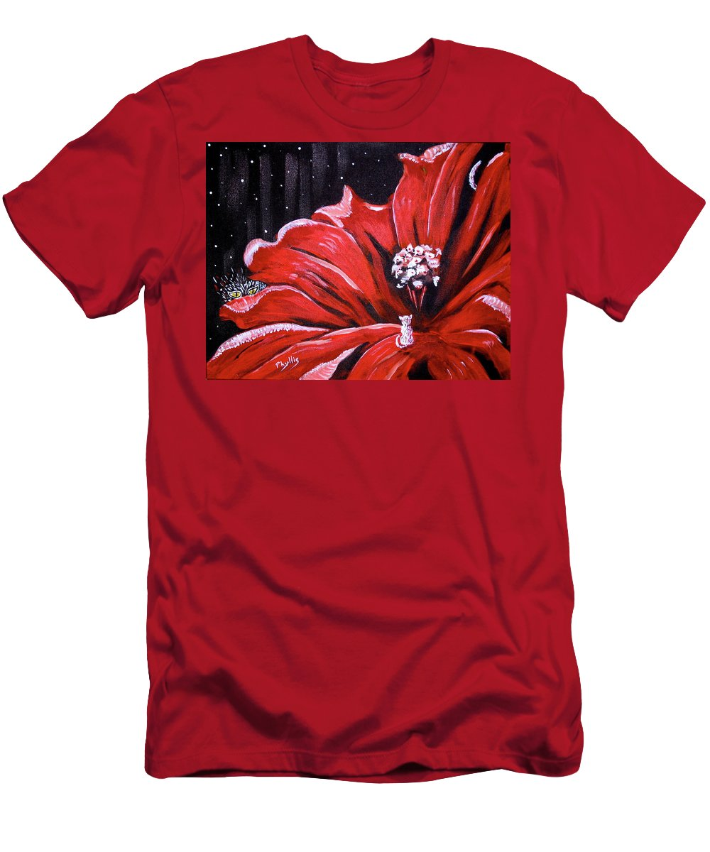 Red Flower Men's T-Shirt (Athletic Fit) featuring the painting Kitty Flower by Phyllis Kaltenbach