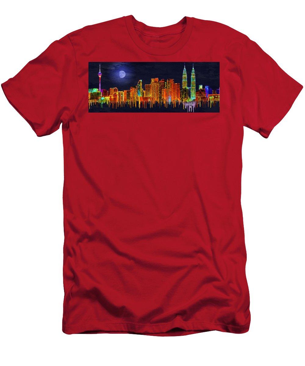 Kuala Lumpur Men's T-Shirt (Athletic Fit) featuring the digital art Kuala Lumpur by Edelberto Cabrera