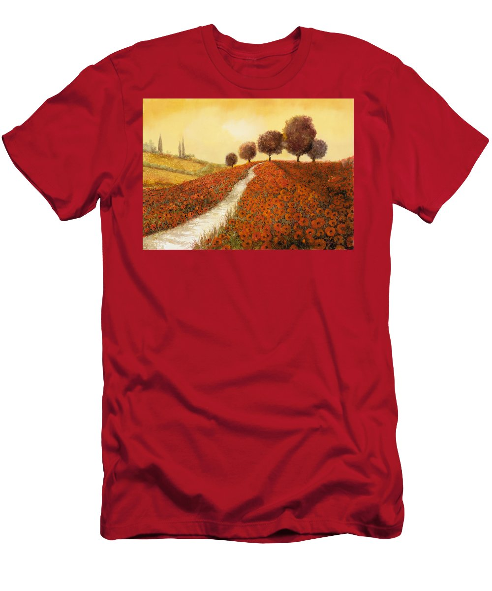 Tuscany Men's T-Shirt (Athletic Fit) featuring the painting La Collina Dei Papaveri by Guido Borelli