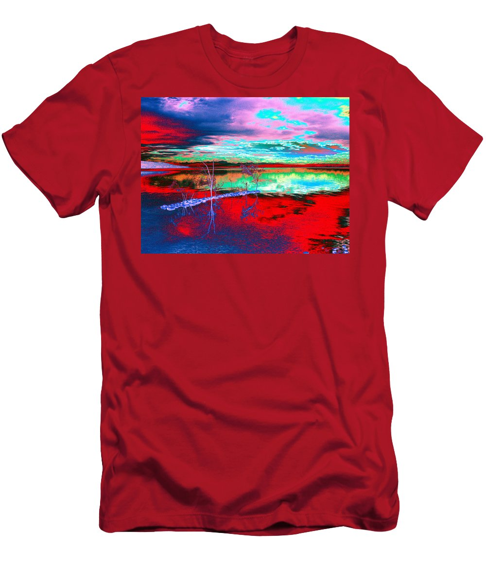 Sea Men's T-Shirt (Athletic Fit) featuring the digital art Lake In Red by Helmut Rottler