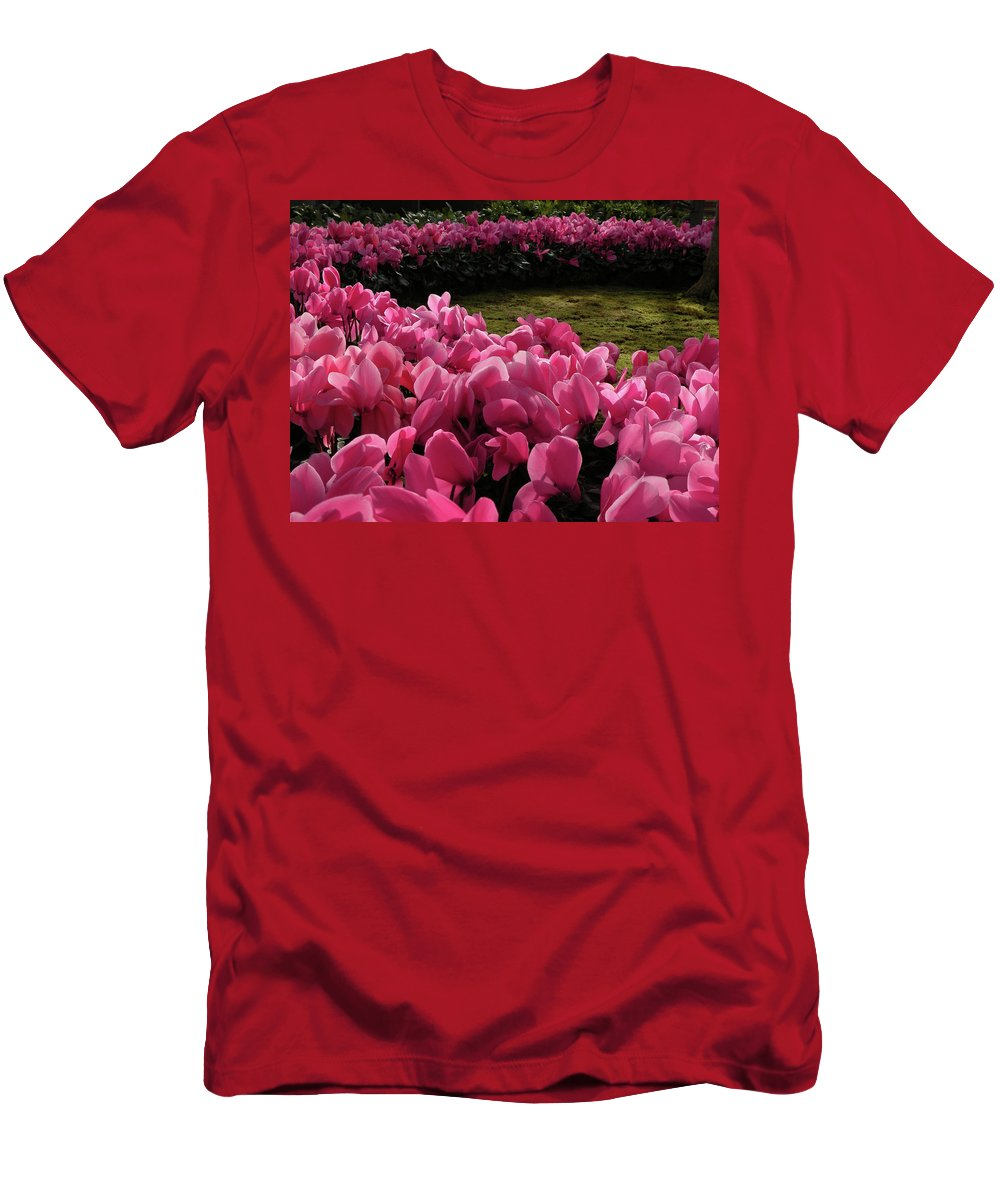 Men's T-Shirt (Athletic Fit) featuring the photograph Lane Of Pink by Trish Tritz