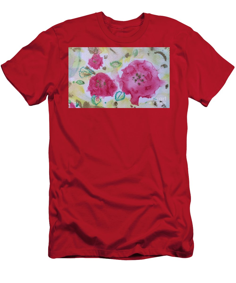 Late Summer Rose Rosarie Men's T-Shirt (Athletic Fit) featuring the painting Late Summer Rose I Rosarie by Aase Birkhaug