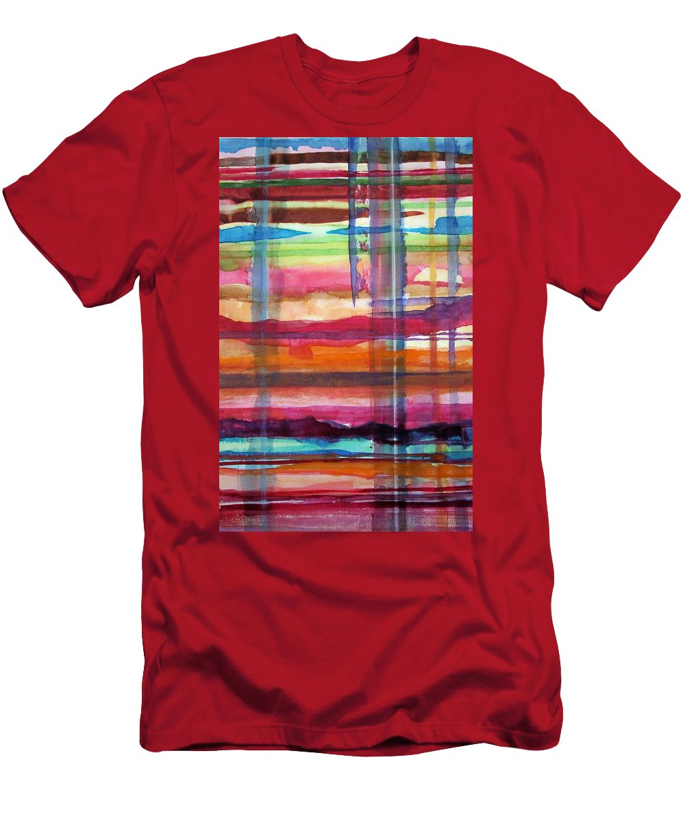 Abstract Men's T-Shirt (Athletic Fit) featuring the painting Layered by Suzanne Udell Levinger