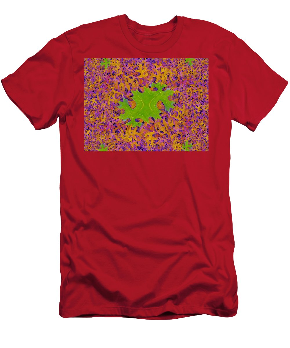 Leaves Men's T-Shirt (Athletic Fit) featuring the photograph Leaves In Fractal 2 by Tim Allen