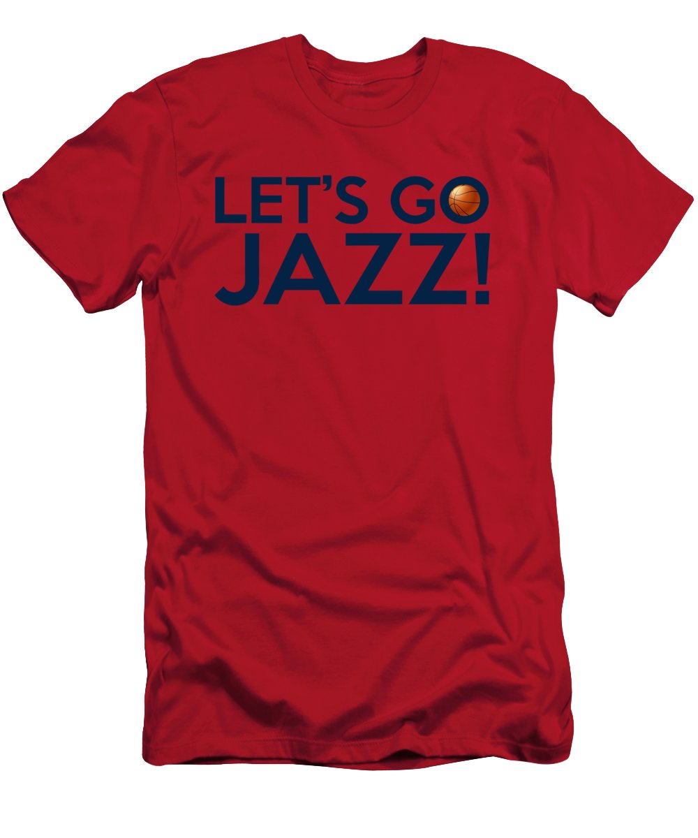 b726ba6613f7 Utah Jazz Men s T-Shirt (Athletic Fit) featuring the painting Let s Go Jazz