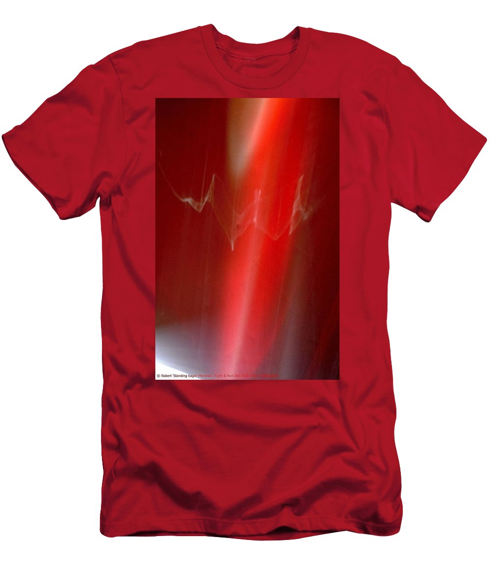 Red Men's T-Shirt (Athletic Fit) featuring the photograph ''light And Red Disc No.22'', Sun--27sep2015 by Robert 'Standing Eagle'