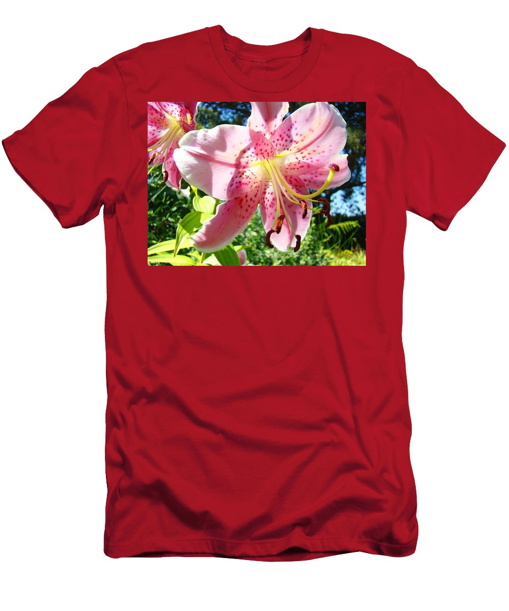 Lilies Men's T-Shirt (Athletic Fit) featuring the photograph Lilies Art Prints Pink Lily Flowers 2 Giclee Prints Baslee Troutman by Baslee Troutman