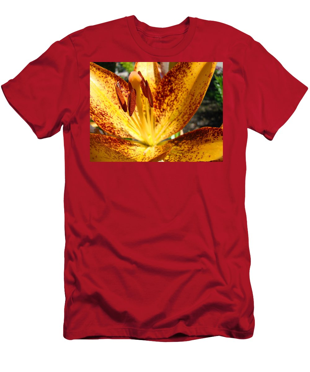 Lilies Men's T-Shirt (Athletic Fit) featuring the photograph Lilies Glowing Orange Lily Flower Floral Art Print Canvas Baslee Troutman by Baslee Troutman